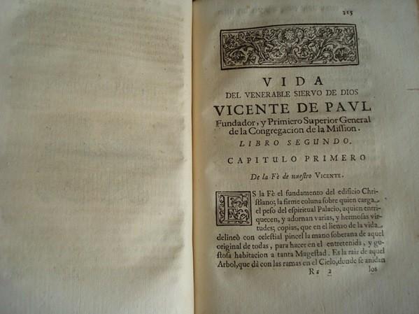 Vida de San Vicente de Paul, primera edición, original de 1701