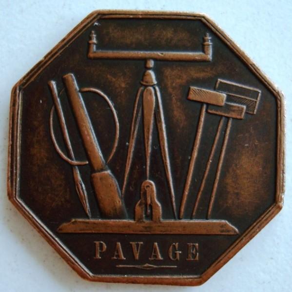 Medalla francesa -Pavage-, en bronce, tipo maestra, año 1810