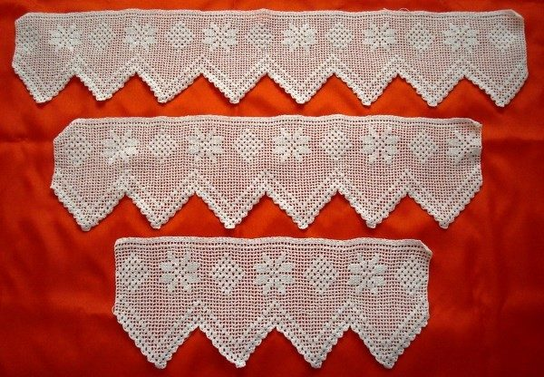 Encajes 3 piezas para toallas baño en croché blanco artesanal
