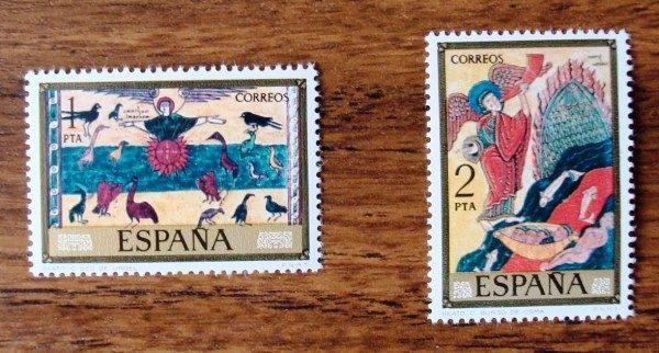 Correos España: sellos serie completa Códices (8 sellos) 1975