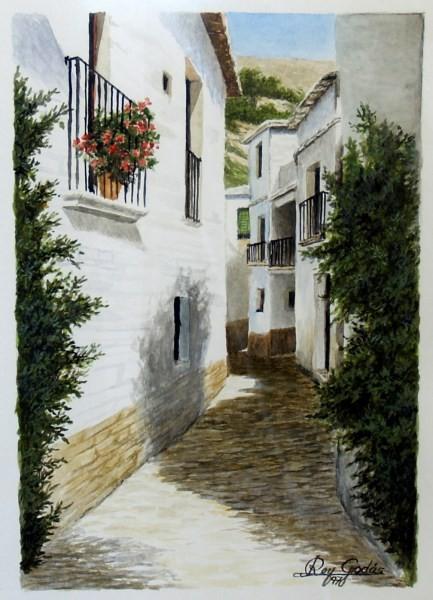 Rey Godás, Alpujarra granadina, 1970, acuarela
