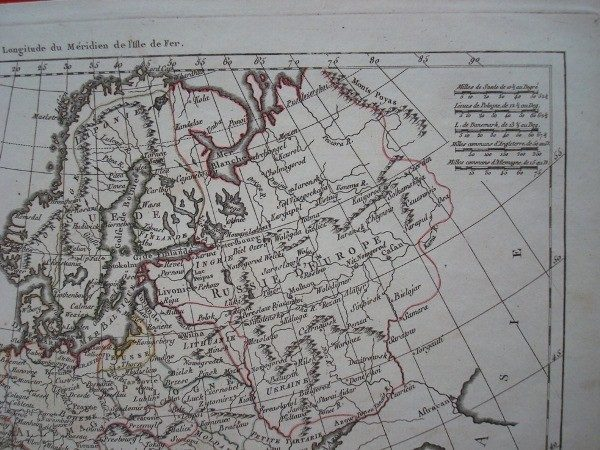 Mapa de Europa, original de 1780, por Rigobert Bonne. Raro ejemplar