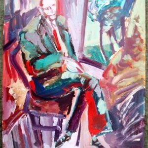 Alberto Breccia, Descanso, 1987, óleo sobre tabla
