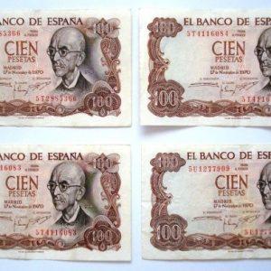 Billete de 100 pesetas, España 1970