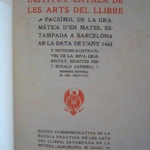1498 Gramàtica, Bartomeu Mates, 1906, incunable catalán