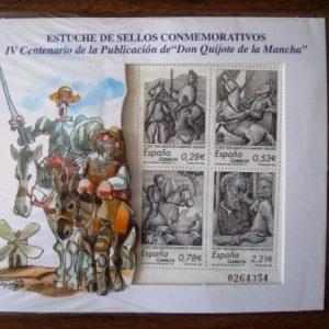 Sellos de Correos IV Centenario de Don Quijote, ilustrados por Mingote, 2005