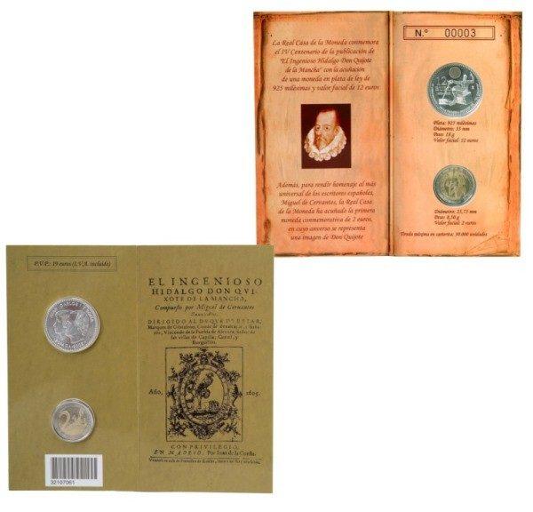 Carterita oficial Monedas 12 € plata y 2 euros España Quijote 2005