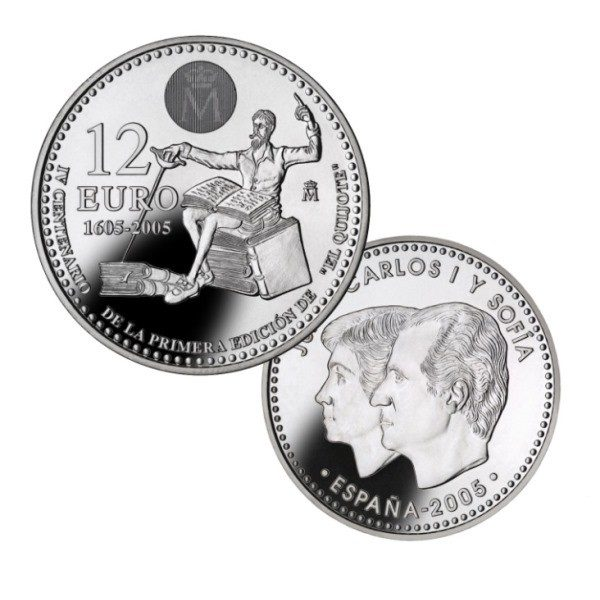 2005 Carterita oficial FNMT Monedas 12 € plata y 2 euros España Quijote