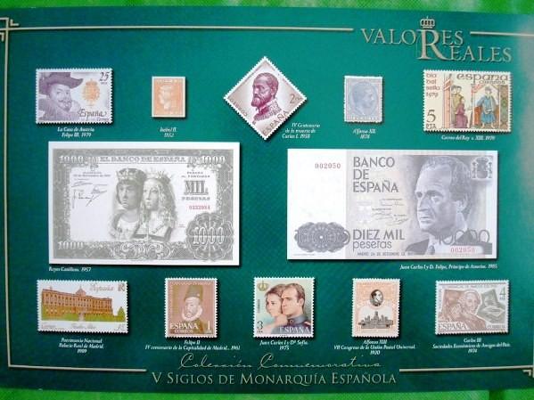 Valores Reales, sellos de Correos y billetes españoles en plata y oro