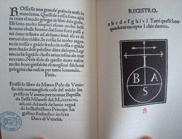 Delle cose maravigliose del mondo, de Marco Polo, Venecia 1496