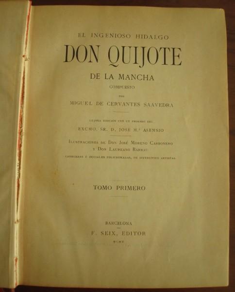 1905 Don Quijote de La Mancha, Cervantes, Seix, 2 tomos