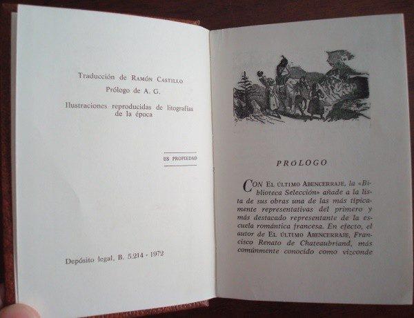 El último abencerraje, Chateaubriand, pequeño libro