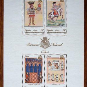 1992 Sellos de Correos España Hoja bloque Patrimonio Nacional: Códices