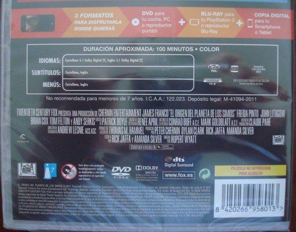 Película El origen del Planeta de los simios, DVD-BR, sin desprecintar