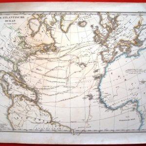 1865 Mapa Océano Atlántico Norte, de Adolf Stieler