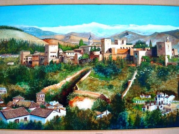 La Alhambra, Granada, pintura al óleo original, 1988, F. R. Yáñez