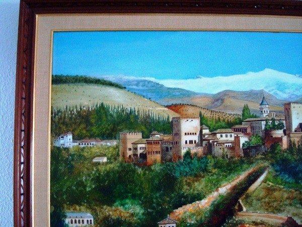 F. R. Yáñez, La Alhambra, Granada, pintura al óleo original, 1988