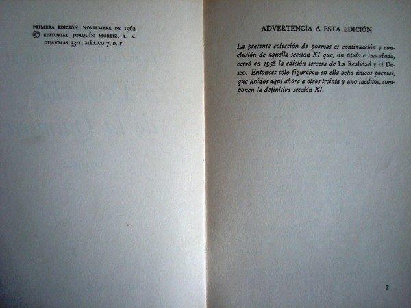 1962 Luis Cernuda, Desolación de la Quimera, sección XI, 1ª edición