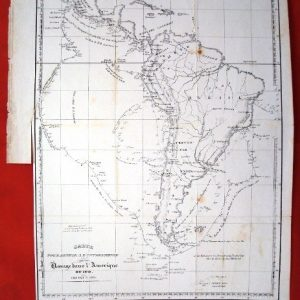 1822 Mapa francés América del Sur, rutas marítimas