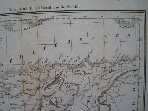 1830 Mapa del reino de Argel, A. M. Perrot