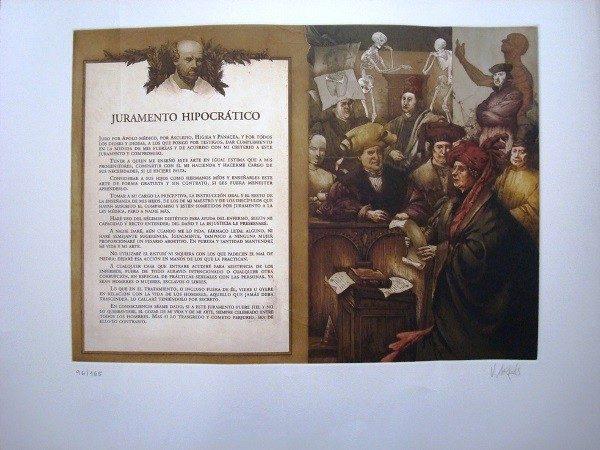 Vicente Arnás, Juramento Hipocrático, grabado original