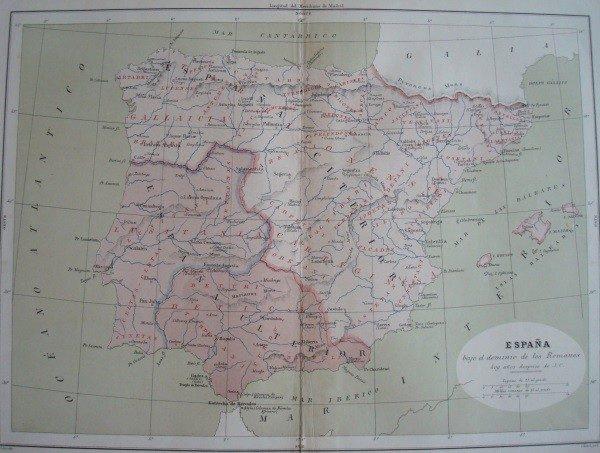 1877 Mapa de España bajo los Romanos
