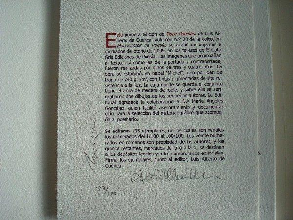 2009 Luis Alberto de Cuenca, Doce Poemas