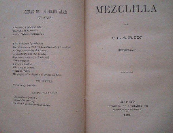 1889 Leopoldo Alas Clarín, Mezclilla (crítica y sátira)