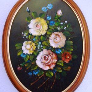 F. R. Yáñez, Flores, óleo sobre lienzo oval, 1987