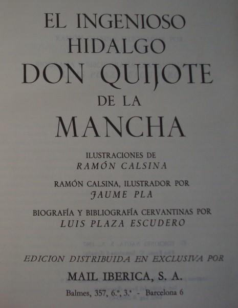1969 Don Quijote, Cervantes, il. Ramón Calsina