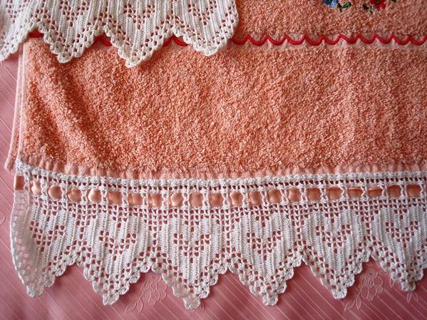 Juego de toallas rosa croché blanco, pieza única
