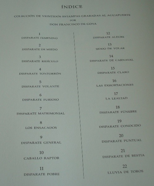 Goya: Los Disparates (Proverbios), obra gráfica