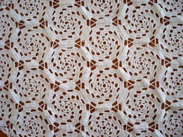 Paño artesanal croché, blanco, pieza única