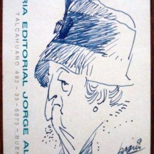 Alberto Breccia, retrato de dama en una tarjeta, 1963