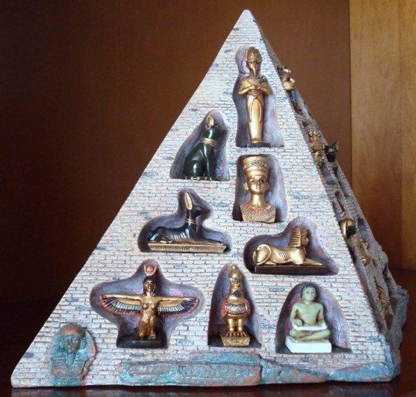 Pirámide egipcia decorada con figuritas de dioses y otros símbolos