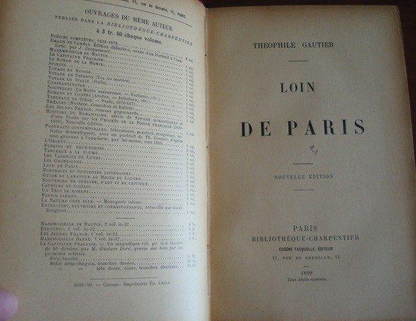 1899 Théophile Gautier, Loin de Paris, original en francés