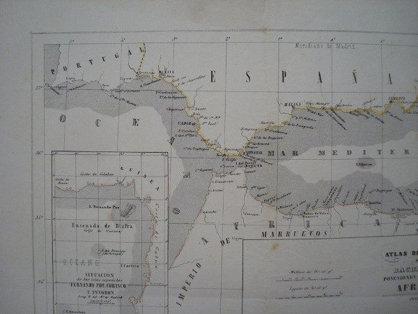 1852 Mapa Posesiones españolas en África, Atlas de Bachiller