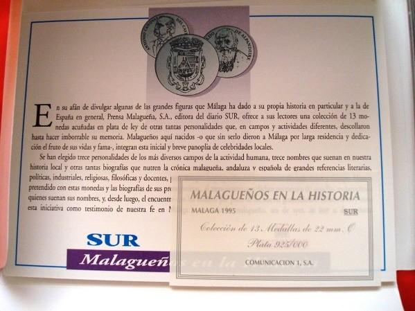 Malagueños en la Historia, colección de 13 medallas en plata, 1995