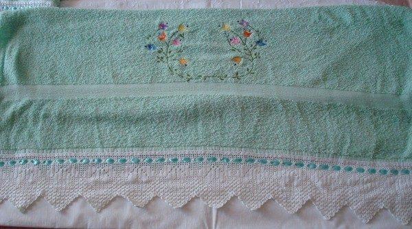 Juego de toallas verde croché blanco, pieza única