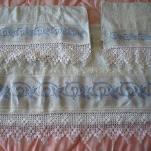 Juego de toallas verde croché blanco, pieza única grande