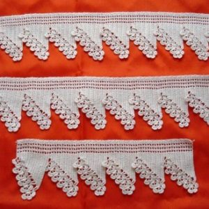 Lace 3 piece bath towels craft cream crochet