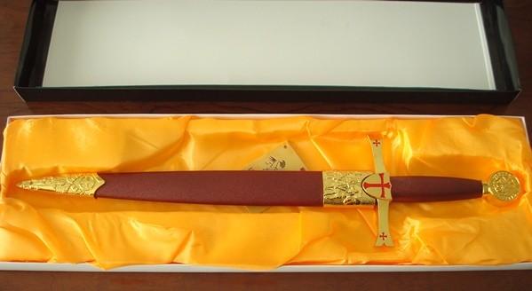 Daga templaria color oro, hoja 23 cm, Tole10