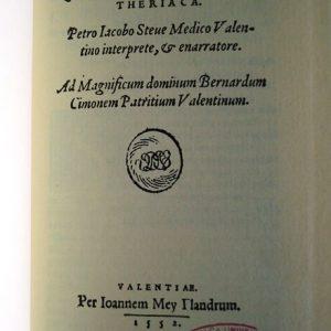 Theriaca, Nicandri Colophoni, Valencia 1552