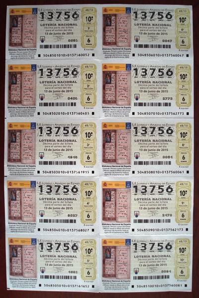Billete o serie de Lotería Nacional España (sábados)