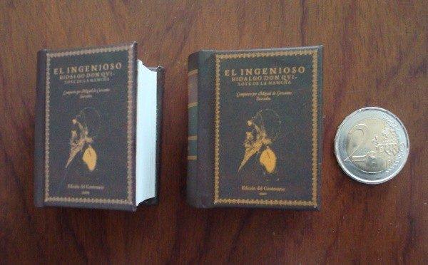 El Quijote, Cervantes, 2 mini tomos, edición micro