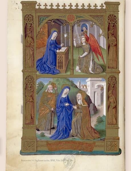 La Anunciación, imágenes selectas en Libros de Horas